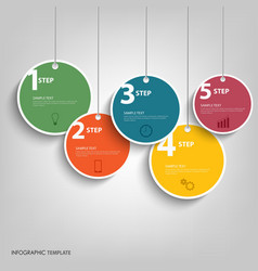 Info graphic with hanging colored circles template vector