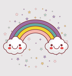 Kawaii clouds and rainbow icon vector