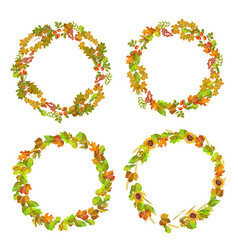 Leaves and autumn plants gathered in neat wreaths vector