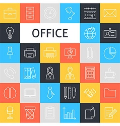 Line Art Business Office Icons Set vector image
