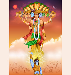 Lord krishana showing vishvarupa darshan vector
