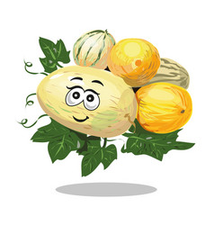 Melon different types cartoon character vector