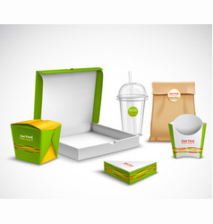 packaging fast food realistic set vector image vector image