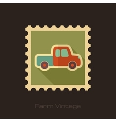 Pickup truck retro flat stamp with long shadow vector