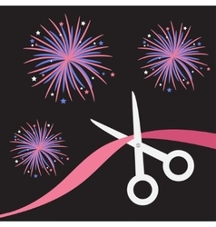 Scissors cut the ribbon grand opening celebration vector