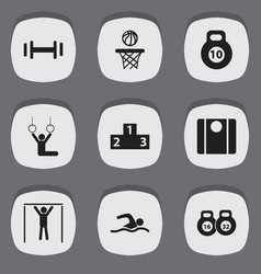 Set of 9 editable sport icons includes symbols vector