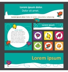 set of banners for web design with cute birds vector image