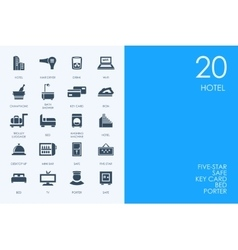 Set of blue hamster library hotel icons vector
