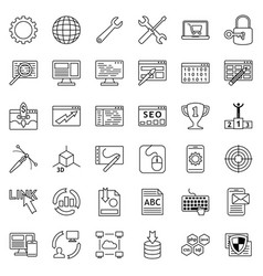 set of web development icons internet icon vector image vector image