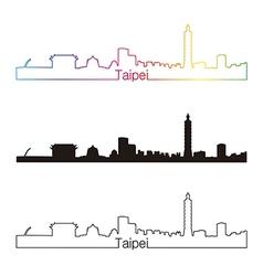 Taipei skyline linear style with rainbow vector