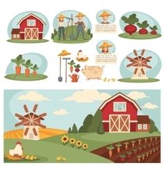Village landscape with farm building vector
