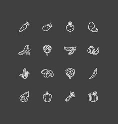 White vegetables outline icons set vector