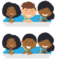 Young multiracial teens relaxing and drinking vector