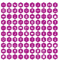 100 balance icons hexagon violet vector
