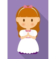 Girl kid cartoon white dress icon graphic vector