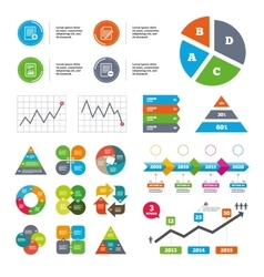 Document icons file with chart graph vector