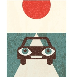 Retro grunge poster Car vector image