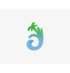 Hand palm ok logo symbol icon ocean wave vector