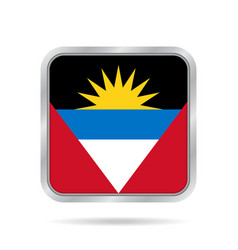 Flag of antigua and barbuda metal square button vector