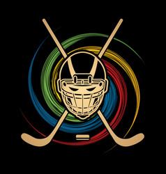 hockey helmet front view graphic vector image