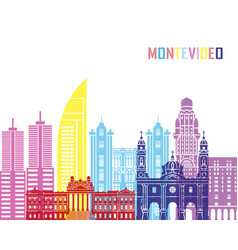 montevideo skyline pop vector image