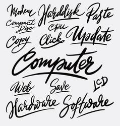 Computer and update hand written typography vector