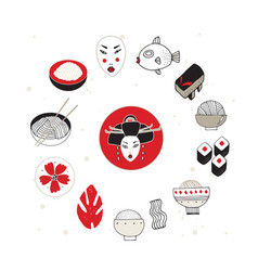 Hand drawn japan and asia design elements vector