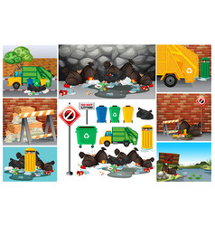 Scenes with dirty trash on the road vector