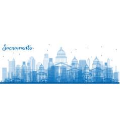 Outline sacramento skyline with blue buildings vector