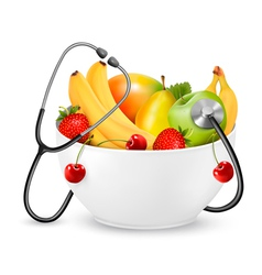 Fruit with a stethoscope healthy diet concept vector