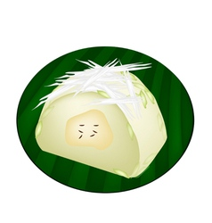 Thai steamed sticky rice with ripe banana vector