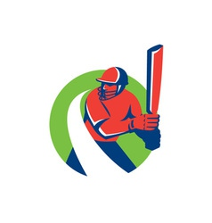 Cricket player batsman batting retro vector