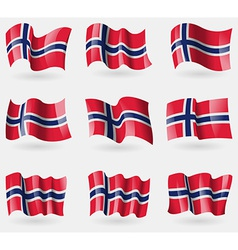Set of norway flags in the air vector