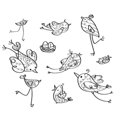 birds contour vector image