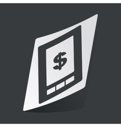 Monochrome dollar on screen sticker vector