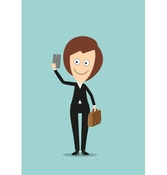 Business woman making selfie shot with smartphone vector