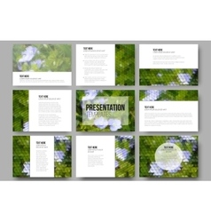 Set of 9 templates for presentation slides blue vector