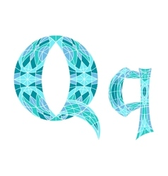 Low poly letter q in blue mosaic polygon vector