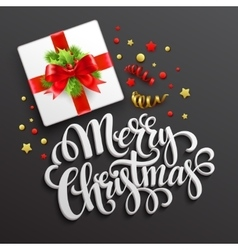 Merry christmas greeting card gift box vector