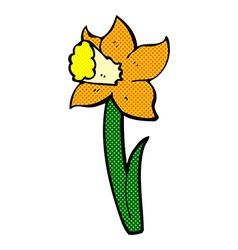 Comic cartoon daffodil vector