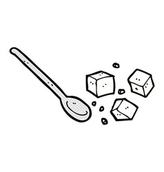 Comic cartoon sugar lumps and spoon vector