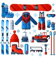 Flat color isolated skiing icons vector