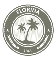 Florida stamp - fl state label with palm trees vector