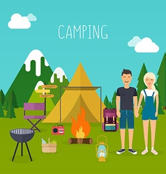 Camping and outdoor recreation flat design vector