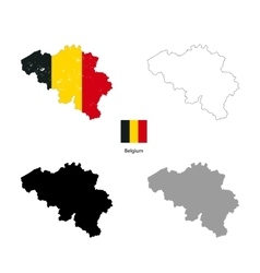 Belgium country black silhouette and with flag on vector