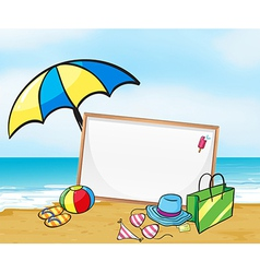 An empty framed signage at the beach vector image vector image