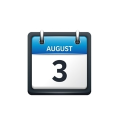 August 3 Calendar icon flat vector image