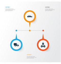 Auto icons set collection of plug automobile vector