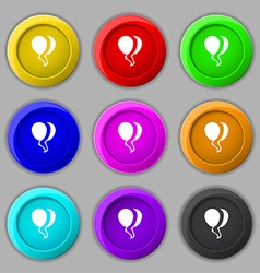 Balloon icon sign symbol on nine round colourful vector