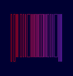 Bar code sign line icon with gradient vector
